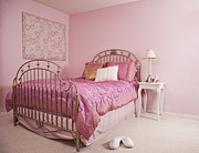 Bedside Table Posters - Pink Bedroom Interior Poster by Jetta Productions, Inc