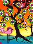 Coin Prints - Pink Birds on a Tree Print by  Abril Andrade Griffith