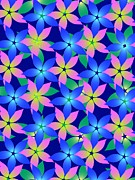 Green Color Art - Pink, Blue, And Green Flowers On A Dark Blue Background by Lana Sundman