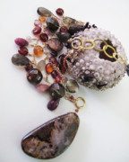 Beach Jewelry Originals - Pink Boulder Opal And Mixed Gemstone Splash Necklace by Adove  Fine Jewelry