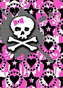 Girly Skull Posters - Pink Bow Skull Poster by Roseanne Jones
