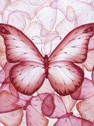 Pink Painting Prints - Pink Butterflies Print by Christina Meeusen
