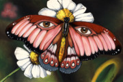African-american Mixed Media Prints - Pink Butterfly Print by Anthony Burks
