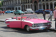 Pink Cadillac Prints - Pink Cadillac In Havana Print by David Grant