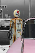 Pink Cadillac Prints - Pink Cadillac on Route 66 Print by Lindy Spencer