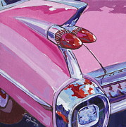 Chrome Painting Prints - Pink Cadillac Print by Sandy Tracey