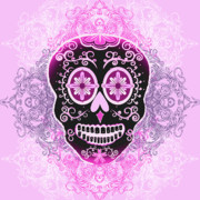 Alternative Skull Prints - Pink Calavera Print by Tammy Wetzel