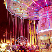 Night Photographs Art - Pink Carnival Festival Ferris Wheel Night Ride by Kathy Fornal