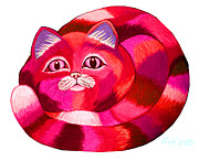 Cats Drawings Metal Prints - Pink Cat 2 Metal Print by Nick Gustafson