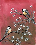 Pods Originals - Pink Chickadees by Kathleen McDermott