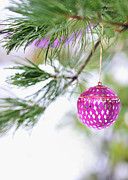 Invitations Framed Prints - Pink Christmas ornament on snowy pine tree branch  Framed Print by Marianne Campolongo
