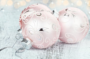 Brightly Lit Prints - Pink Christmas Ornaments Print by Stephanie Frey