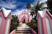 Presbyterian Framed Prints - Pink Church in Hamilton Bermuda Framed Print by George Oze