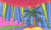 Miami Heat Drawings Prints - Pink City Print by James Davidson