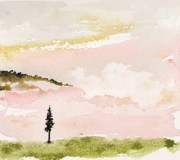 Pine Trees Painting Metal Prints - Pink Clouds Metal Print by Carolyn Doe