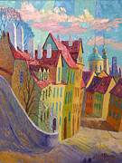 Prague Painting Framed Prints - Pink Clouds. Prague  Framed Print by Stanislav Sidorov