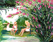 Park Benches Paintings - Pink Crepe Myrtle by Laura Rispoli