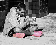 Coffee Drinking Prints - Pink Crocks Print by Don Durfee