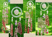 Healing Art Glass Art - Pink Crystal Ball Energetic Harmonizer Feng Shui Glass Crystal Wind Chime by Karen Martel