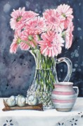 Pitchers Painting Metal Prints - Pink Daisies in Crystal Pitcher Metal Print by Jane Loveall
