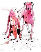 Canines Painting Framed Prints - Pink Dalmations Framed Print by Neil McBride