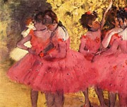 Ballet Dancers Paintings - Pink Dancers Before Ballet by Pg Reproductions