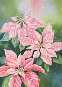 Poinsettias Paintings - Pink Delight by Deborah Ronglien