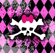Pink Diamond Skull Print by Roseanne Jones