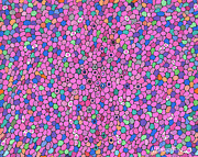 Circles Drawings Originals - Pink Dots Dominate by Nina Kuriloff