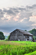 Country Scenes Prints - Pink Dusk Barn Print by Emily Stauring