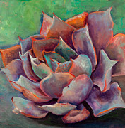 Foliage Painting Metal Prints - Pink Echeveria Metal Print by Athena  Mantle
