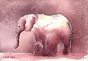 Elephants Digital Art Framed Prints - Pink Elephant Framed Print by Arline Wagner