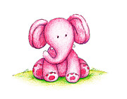 Toy Drawings Prints - Pink Elephant On A Green Lawn Print by Anna Abramska