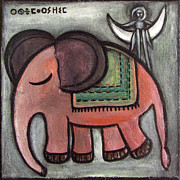 Night Angel Paintings - Pink elephant walking to the moon by Rosemary Lim