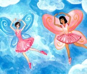 Sue Burgess Paintings - Pink Fairies Detail of Duck Meets Fairy Ballet Class by Sushila Burgess