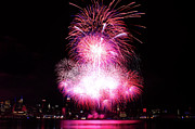 Independance Posters - Pink Fireworks At NYC Poster by Archana Doddi