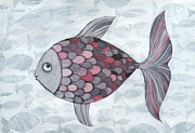 Large Group Of Animals Art - Pink Fish by Georgiana Chitac