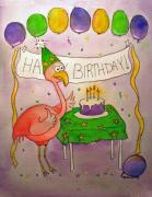 Happy Birthday Prints - Pink Flamingo Happy Birthday Cake Watercolor Print by Kerra Lindsey