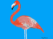 Paige Perkins Art - Pink Flamingo by Paige Perkins