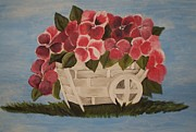Pink Flowers In A Wagon Basket Print by Christy Brammer