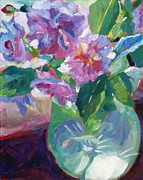 David Lloyd Glover - Pink Flowers in Green Glass