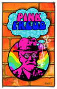 Freud Digital Art Framed Prints - Pink Freud Framed Print by John Goldacker