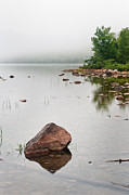 Pink Granite In Jordan Pond At Acadia Print by Steve Gadomski