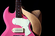 Music Prints - Pink Guitar Hat Isolated Print by M K  Miller