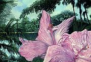 Fauna Pastels Metal Prints - Pink Hibiscus-Fairchild Gardens Metal Print by Stephen Mack
