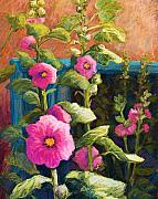 Adobe Buildings Prints - Pink Hollyhocks Print by Candy Mayer