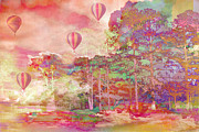 Pastel Prints Art - Pink Hot Air Balloons Abstract Nature Pastels by Kathy Fornal