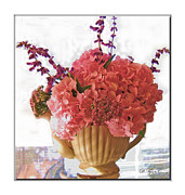 Tabletop Prints - Pink Hydrangea Arrangment Print by Diana  Tyson