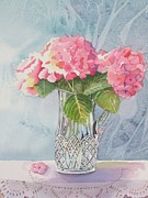 Crystal Pitcher Framed Prints - Pink Hydrangias Framed Print by Jeanne Hall