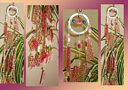 Stones Glass Art - Pink Jade Lotus Feng Shui Glass Crystal Wind Chime by Karen Martel